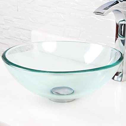 ELITE 14u0026quot; Small Bathroom Clear Glass Vessel Sink For Vanity,Faucet