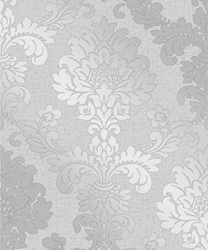 Quartz Damask Wallpaper Silver Fine Decor Fd41965 Amazon Com