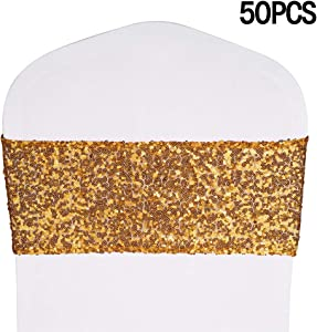 """Desirable Life Stretch Sequin Chair Sashes Chair Bands for Hotel Wedding Reception Party Event Chair Cover Decoration 4""""x16"""""""