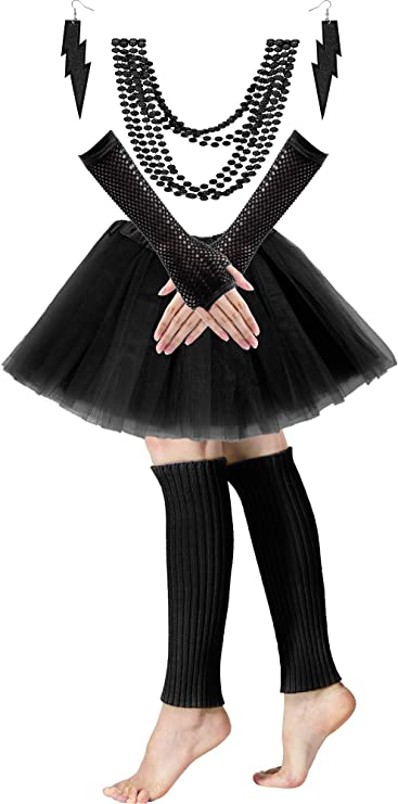 Ladies 80s Tutu Skirt Fishnet Gloves Leg Warmers Necklace 1980s Dancing Costume