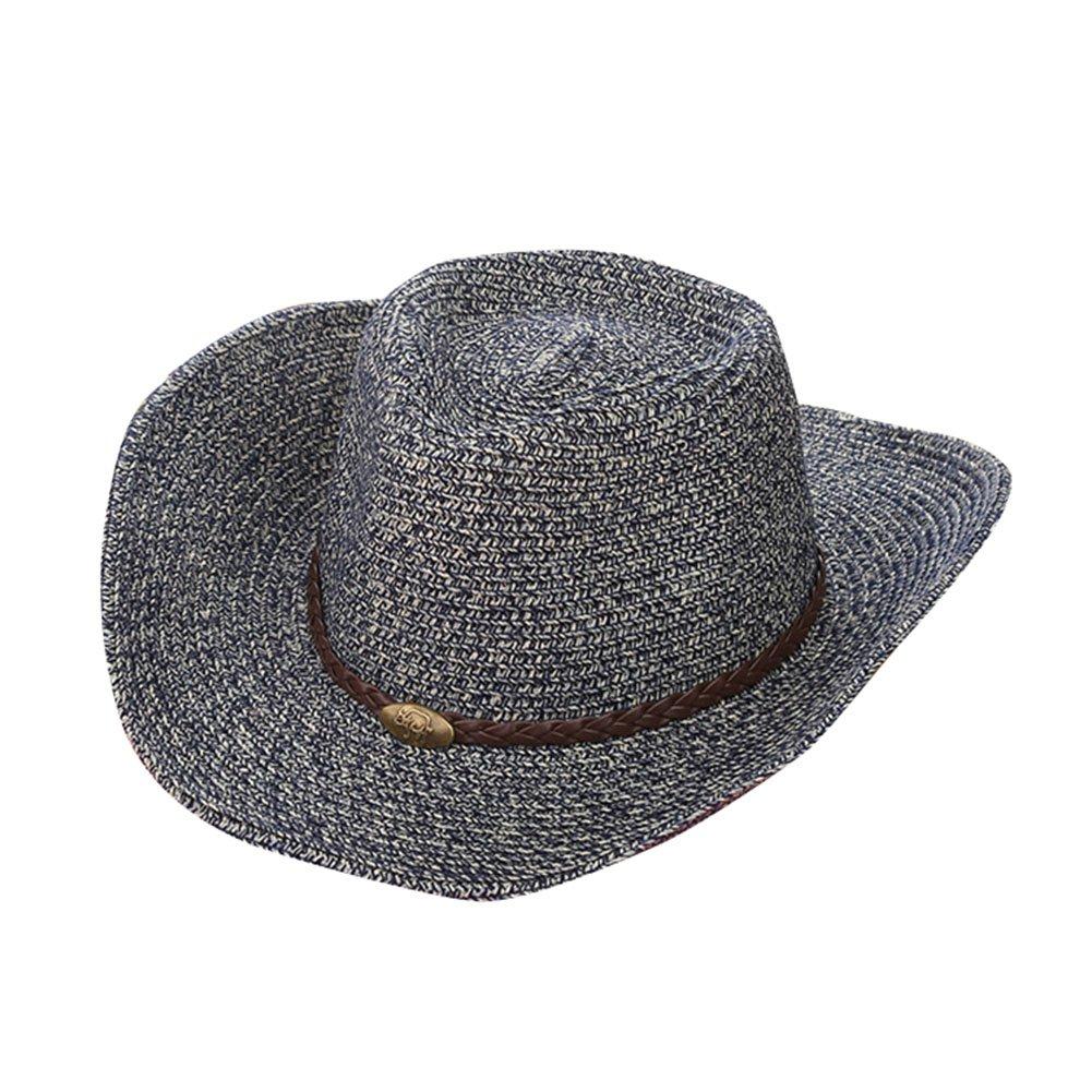 566a67cd5d Gysad Estilo Vaquero Occidental Cowboy Hat Protector Solar Transpirable Sombrero  Vaquero Unisex Vintage Gorras Size 56-58CM (Azul Marino)  Amazon.es  Ropa y  ...