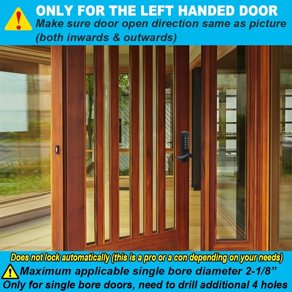 """NOT Deadbolt,Only for Single Borehole Door, Borehole Smaller Than Dia.2-1//8/"""",Need Drill Additional 4 Holes Upgrade Elemake Right Handed Keyless Door Lock Mechanical Keypad Accent Lever"""