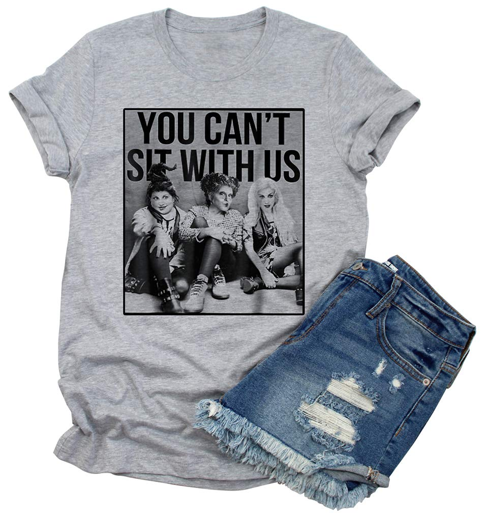 You Can't Sit with Us T-Shirts Women's Funny Graphic Novelty Short Sleeve Tops (S, Gray)