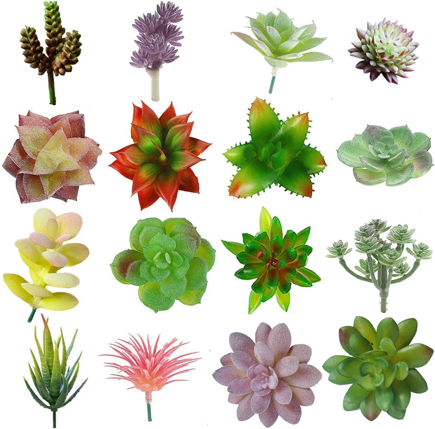 Lasimonne 16 Pcs Mini Artificial Succulent Flocking Plants Unpotted Faux Succulent Picks Fake Plants for Decoration