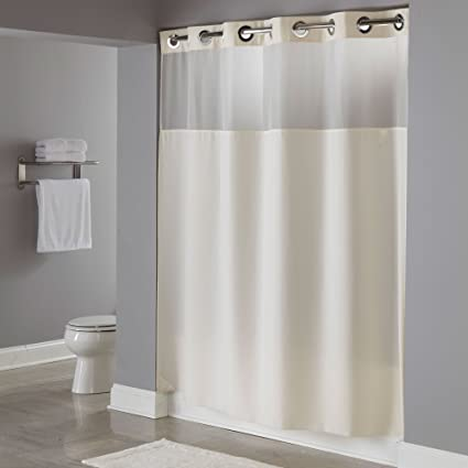 Hookless HBH49MYS05SL74 Illusion Shower Curtain With Snap In Liner Sheer Top Beige 71quot