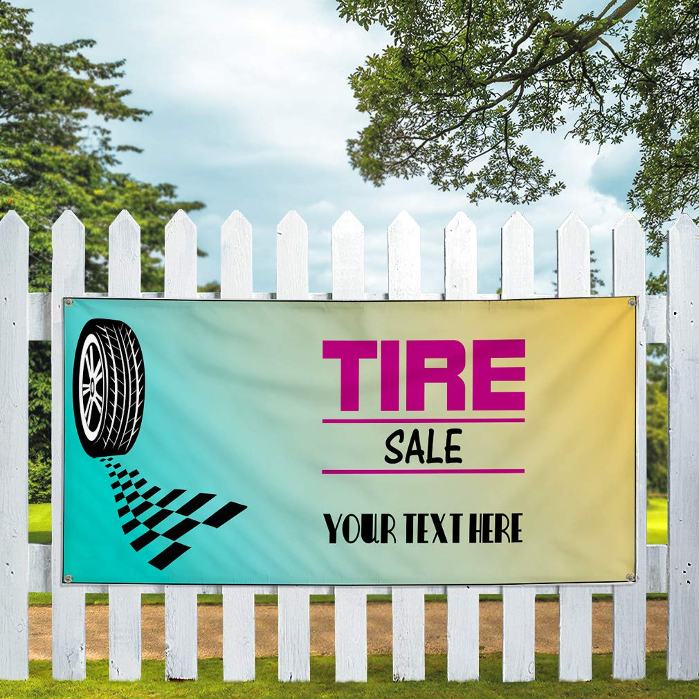 Custom Industrial Vinyl Banner Multiple Sizes Tire Sale Style C Personalized Text Here Automotive Outdoor Weatherproof Yard Signs Pink 6 Grommets 32x80Inches