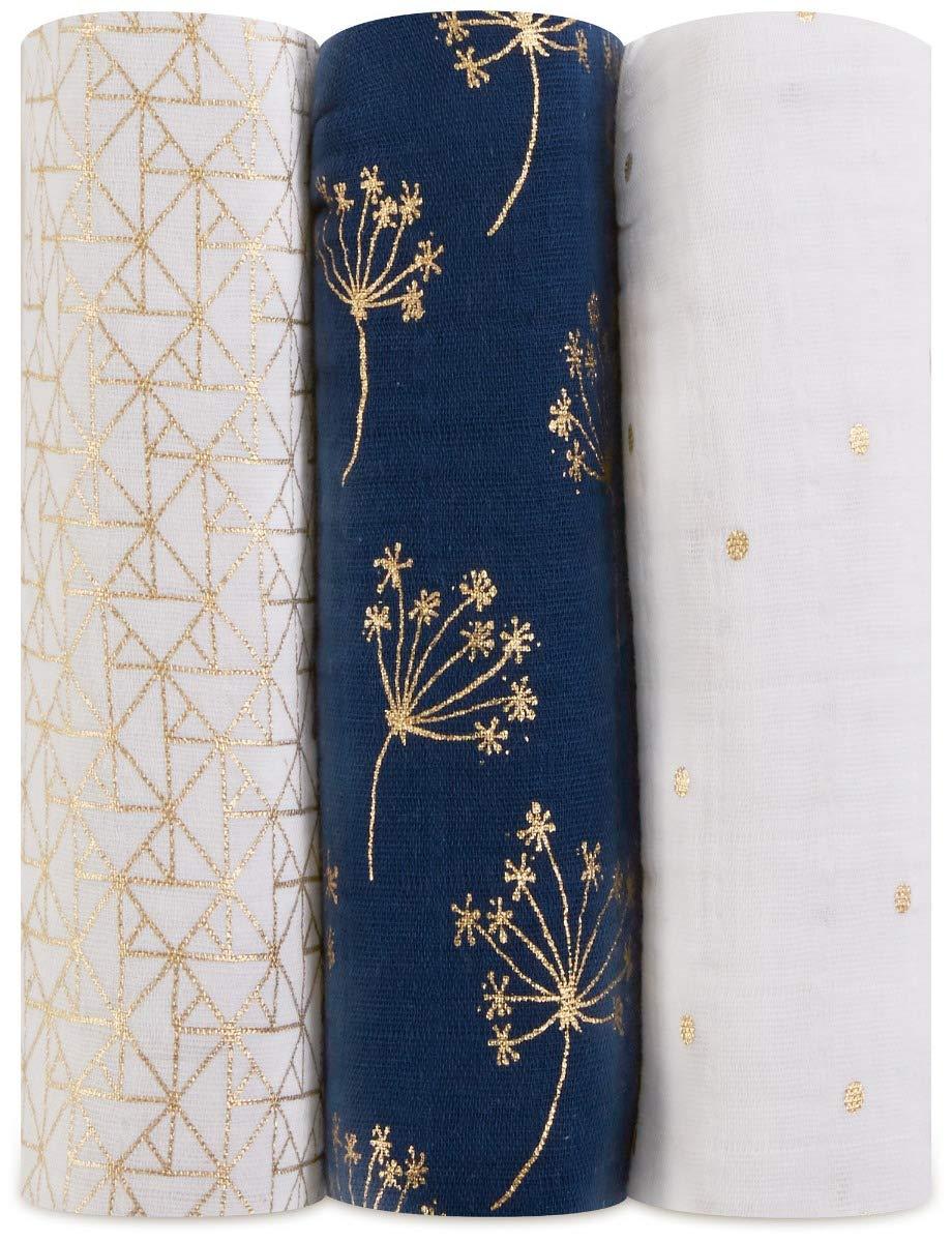 anais Maxi-Langes aden Pack de 3 Harry Potter Dahlias 120cm x 120cm 100/% Mousseline de Coton