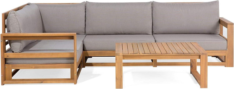 Beliani Garden Outdoor Set Sofa 12 Piece Acacia Wood Grey Polyester Cushions  Timor