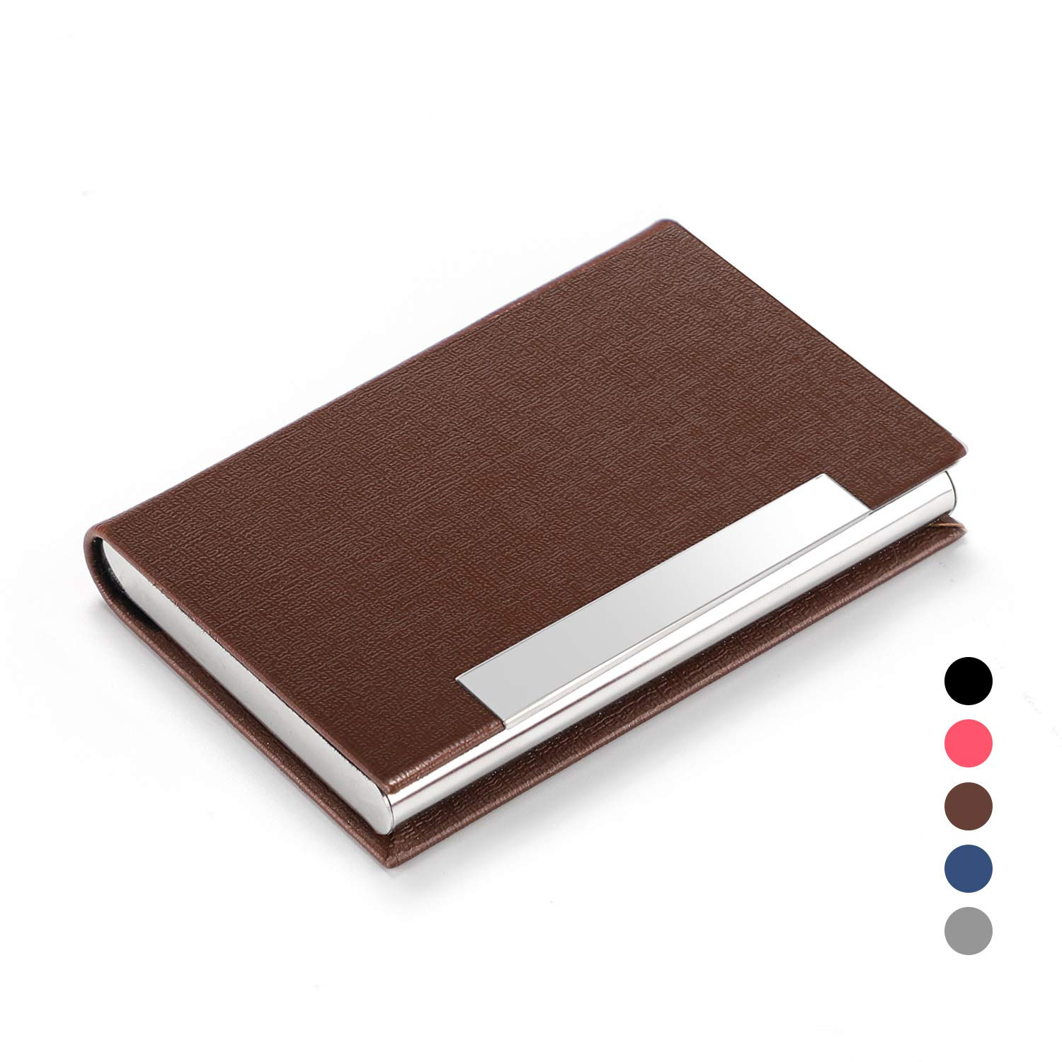 Business Card Holder Case, AHGXG Professional Slim Name Card Case Credit Card ID Holder PU Leather&Stainless Steel Metal Wallets with Magnet Shuts for Men&Women, Keep 20 Business Cards, Silver Sevenhub