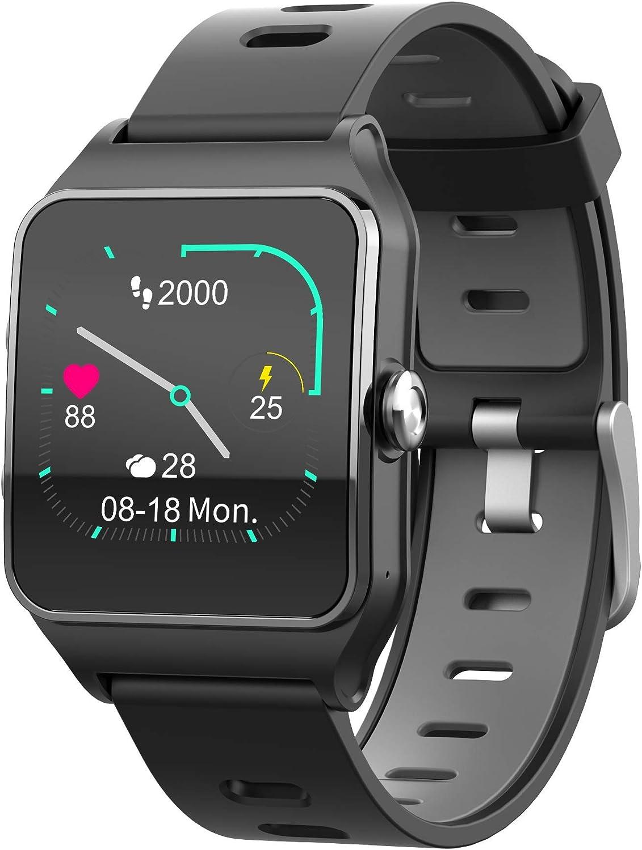 Funker T9 Track Master Negro Smartwatch para Hombre o Mujer Impermeable IP68 Pantalla Táctil Pulsera de Actividad Bluetooth con GPS y Monitor de Ritmo Cardíaco para iOS Android