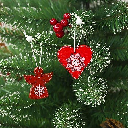 DDG árbol de Navidad 12pcs EDMMS Colgando Colgante de Madera Navidad Campana Decoraciones y Adornos de decoración de Navidad celebración de días Festivos de ...