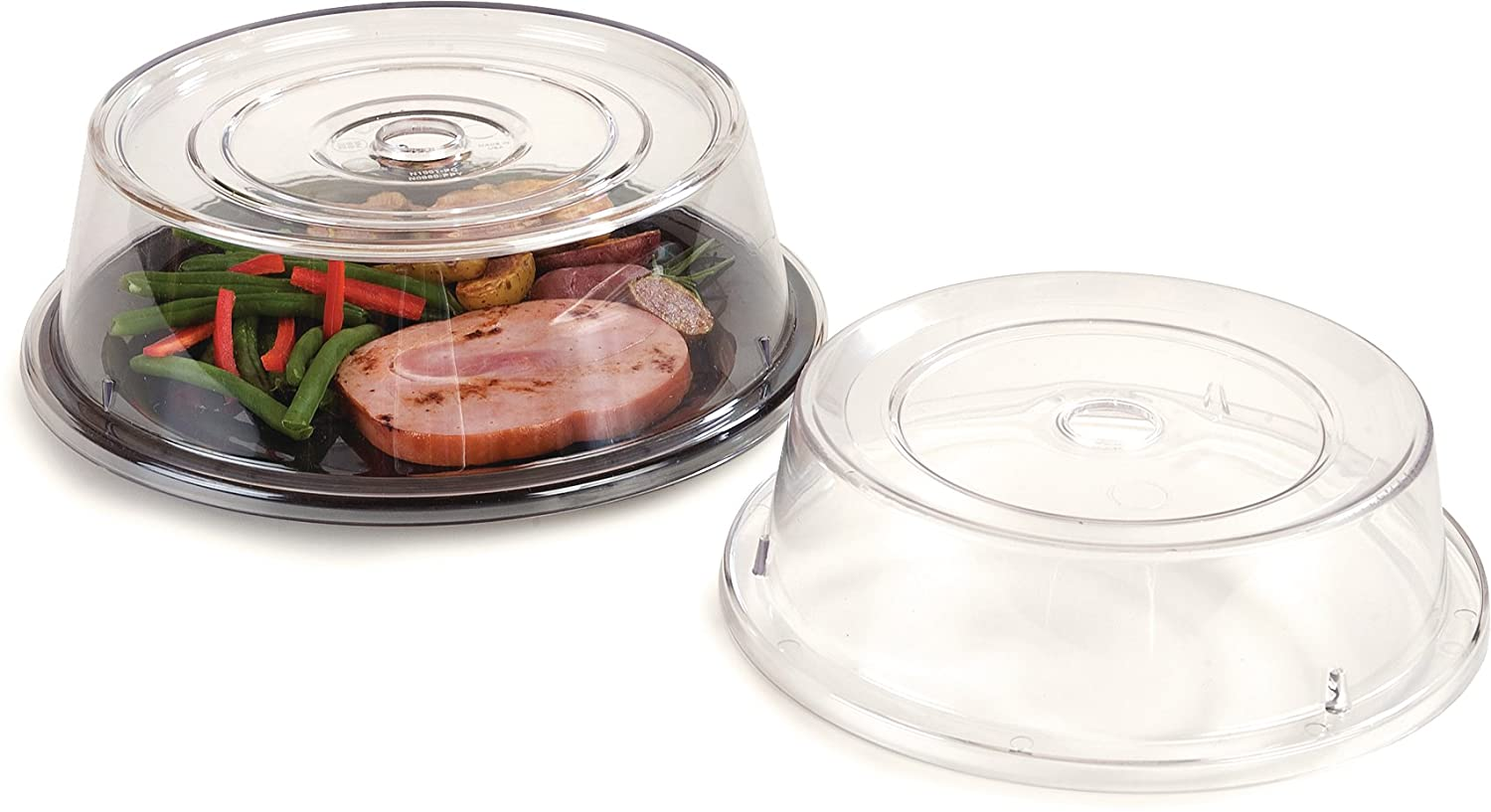Carlisle 198907 Polycarbonate Plate Cover 10.6 Bottom Diameter x 3 Height 10.6 Bottom Diameter x 3 Height Carlisle FoodService Products CR-3491 Case of 12 Clear
