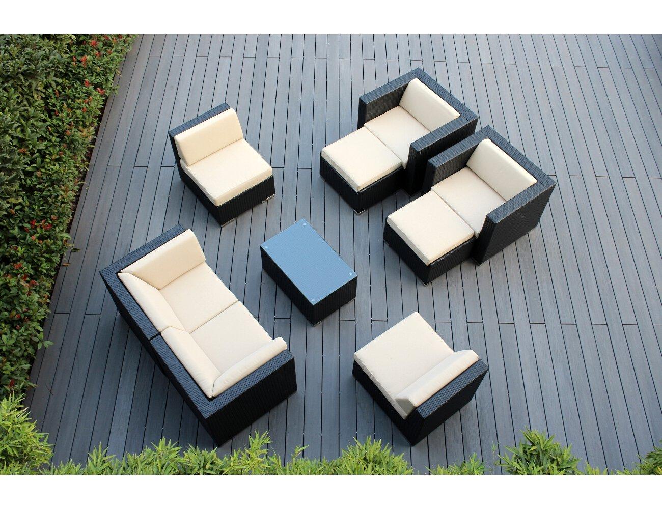 Amazon.com: Ohana 9 Piece Outdoor Wicker Patio Furniture Sectional  Conversation Set With Weather Resistant Cushions, Beige (PN0910): Garden U0026  Outdoor