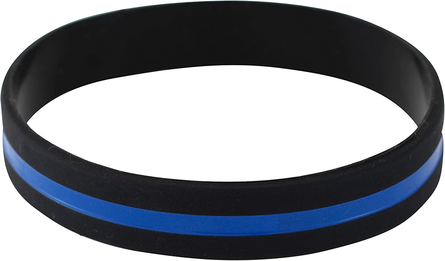 Emblematic Jewelry Police Officers Patrol Awareness Support Thin Blue Line Silicone Wristband Bracelets Value Pack (1 Bracelet)