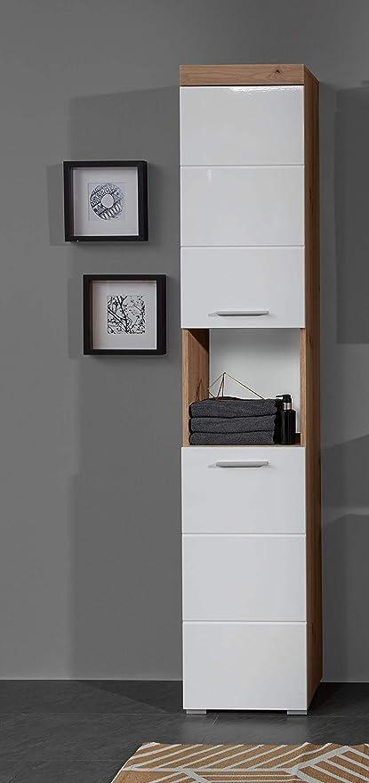 Trendteam Smart Living Badezimmer Hochschrank Schrank Amanda 37 X 190 X 31cm In Asteiche Weiss Hochglanz Mit Offenen Fach Und Viel Stauraum