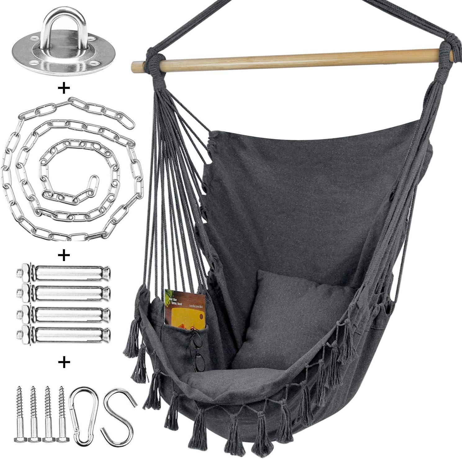 Hammock Chair Swing with Hanging Hardware Kit