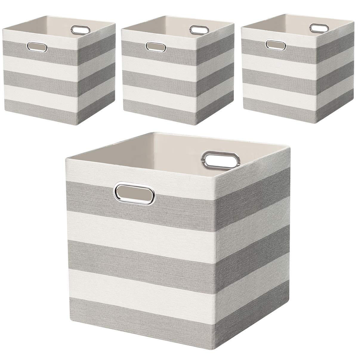 Posprica Storage Bins Storage Cubes, 13×13 Fabric Storage Boxes Baskets Containers Drawers for Nurseries,Offices,Closets,Home Décor - 4pcs,Grey-White Striped by Posprica