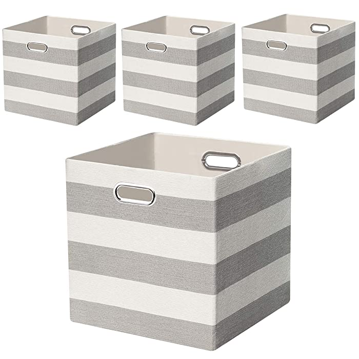 Posprica Storage Bins Storage Cubes, 13×13 Fabric Storage Boxes Baskets Containers Drawers for Nurseries,Offices,Closets,Home Décor - 4pcs,Grey-White Striped