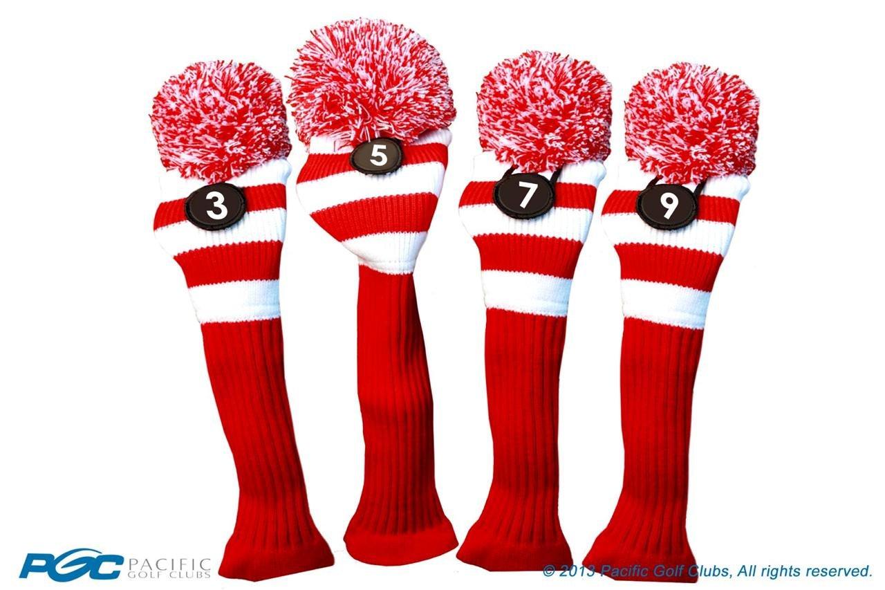 Majekゴルフクラブ3 5 7 9ホワイトとレッドLimited EditionフェアウェイウッドヘッドカバーツアーニットレトロヴィンテージPomクラシックロングネックメタルLongneck Woods Headcovers B01DSD316A
