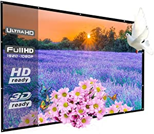 150 Inch Projector Screen Outdoor, WRLSUN HD 16:9 Large Foldable Portable Home Theater Movie Screen for Office Presentation/Party/Double Sided Projection, Easy Install on Mount/Wall with Hanging Holes
