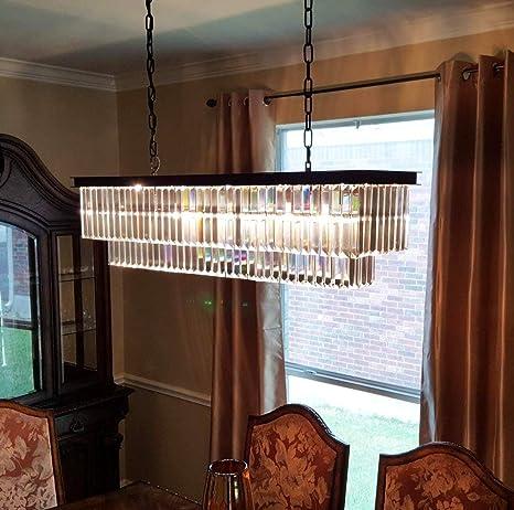 NOXARTE Lámpara de araña de vidrio, marco de metal negro ...