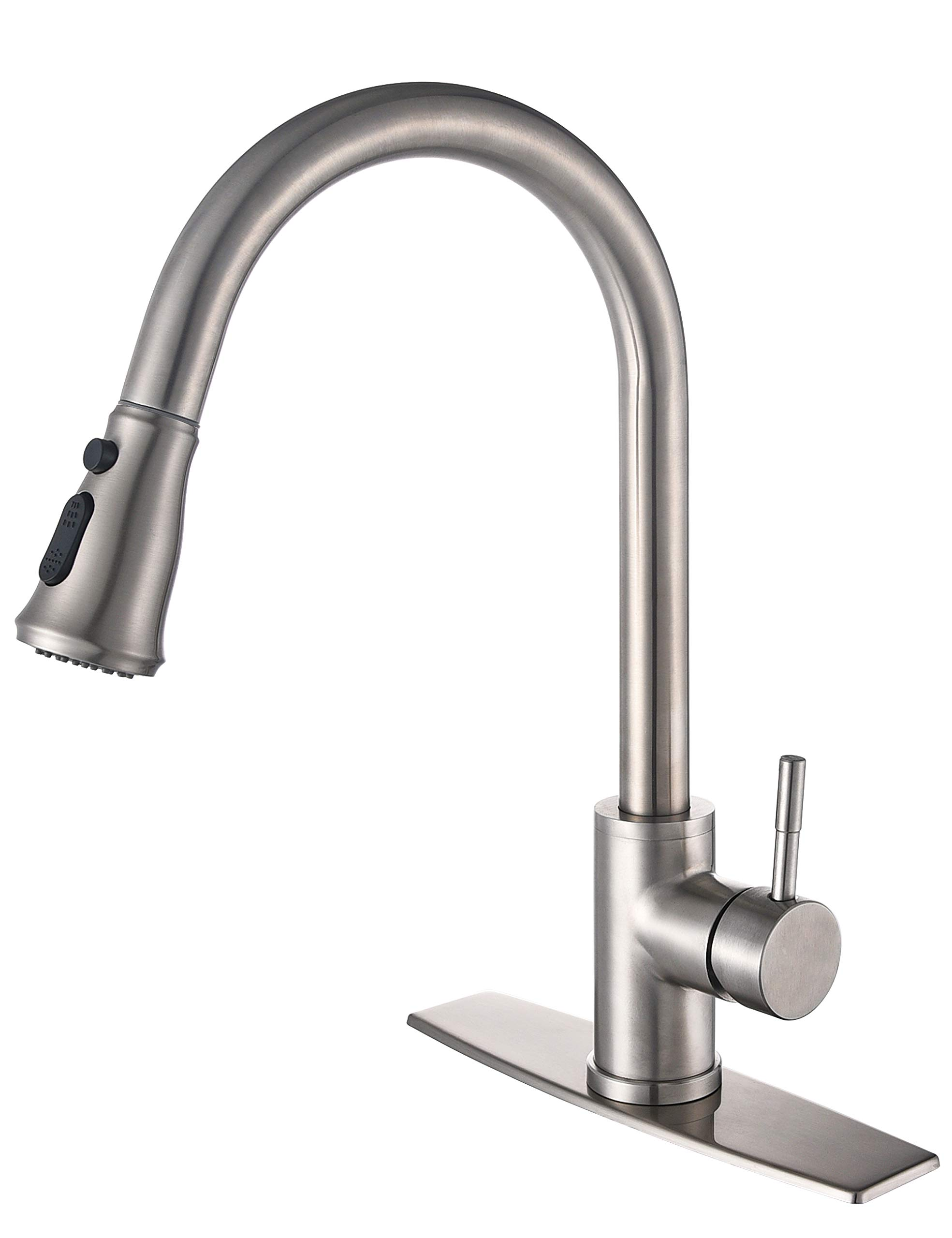 MYHB Kitchen Sink Faucet Brushed Nickel with Pull Down Sprayer Single Handle Lever High Arc 304 Stainless Steel, HY0716 by MYHB