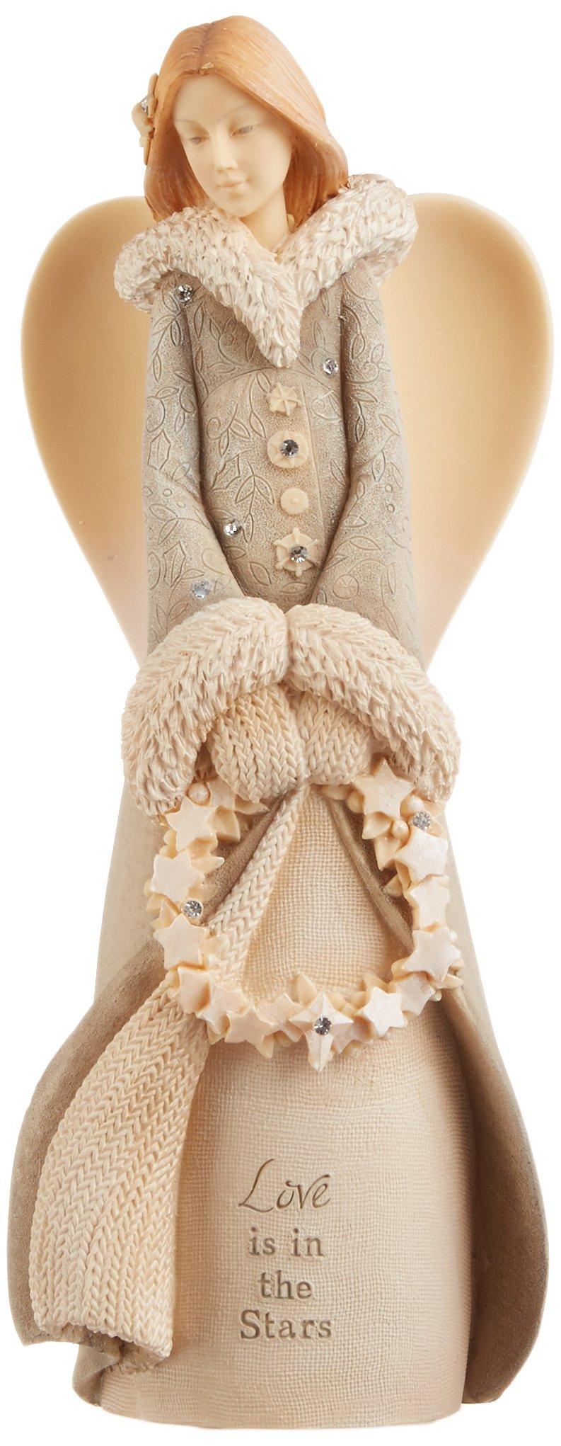 Enesco Foundations Angel with Wreath Figurine, 7.68-Inch