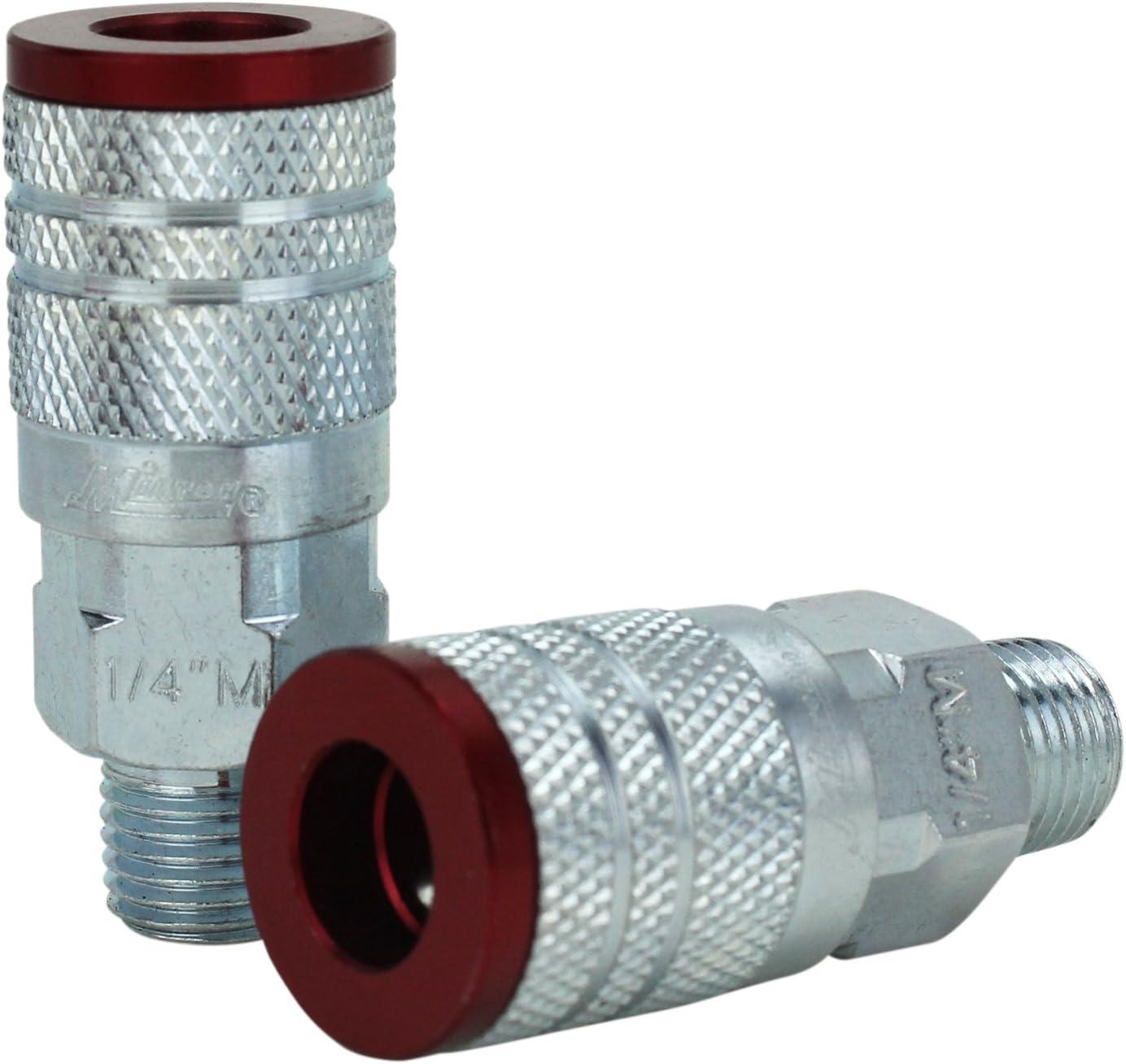 """MILTON 1//4/"""" NPTM Colorfit  Couplers M Style Red MI716MC"""