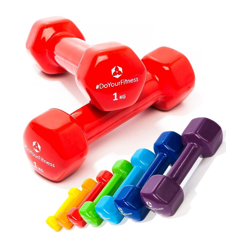 [7 parejas] Set Ahorro de pesas vinilo »Hexagon« / Mancuernas disponibles en diferentes pesos y colores / ( 0,5kg, 0,75kg, 1kg, 1,5kg, 2kg, 3kg & 4kg ) #DoYourSports