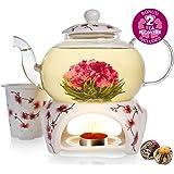 Teabloom Cherry Blossom Teapot & Flowering Tea Gift Set - Stovetop Safe Glass Teapot (27 OZ / 800 ML / 2-3 Cups…