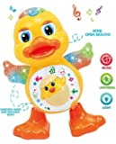 Vikas gift gallery Dancing Duck Toy with Music Flashing Light, Multi Color