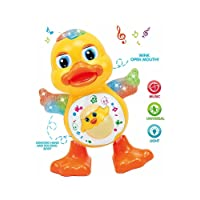Kids Choice YIJUN Plastic Dancing Duck Toy with Real Action and Music Flashing Lights (Multicolour, KDC-Dancing Duck Toy)