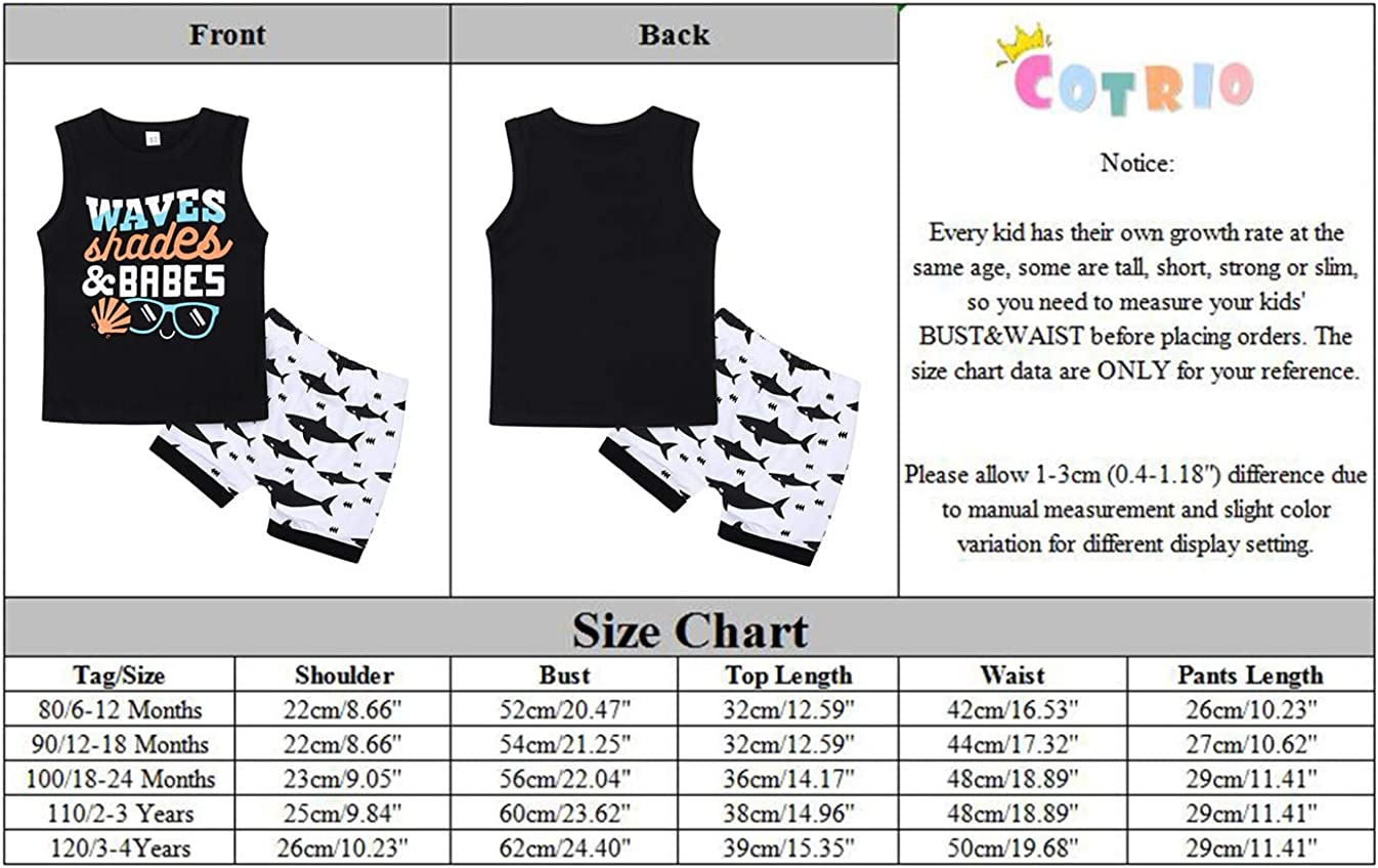 Cotrio Infant Baby Boy Two Pieces Outfits Toddler Summer Tank Shorts Birthday Clothes Set