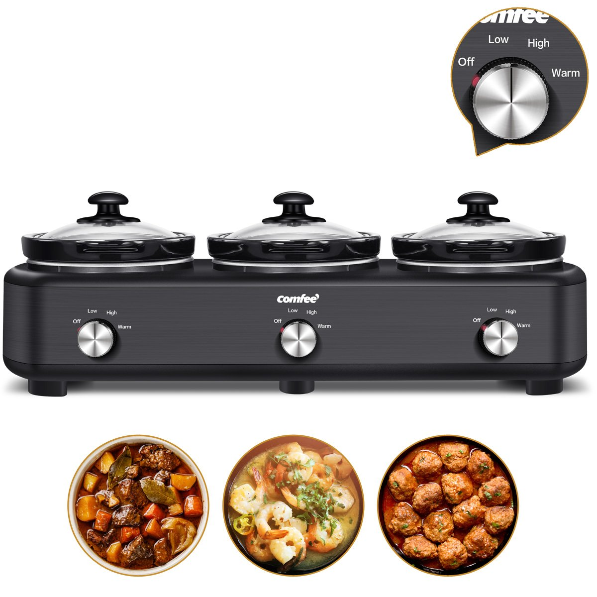 Slow Cooker Crock Pot,Triple Crock Pot Buffet Server,Temperature Setting and 3 * 1.5 Quart Removable Ceramic Pot, Dishwasher Safe by Comfee