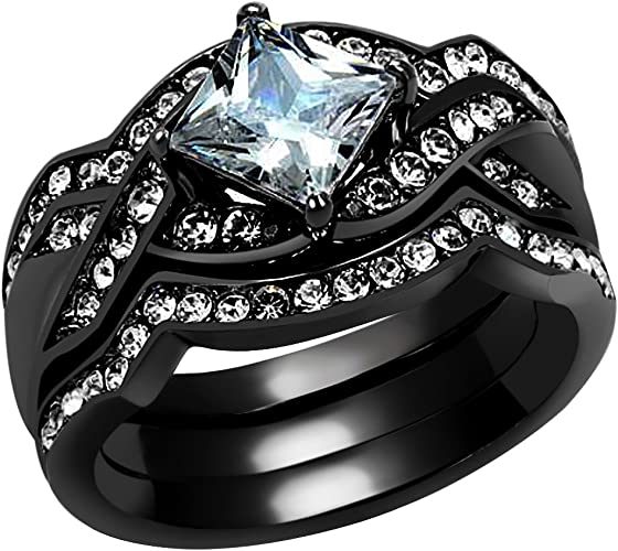Princess Cut Cz Cubic Zirconia Black Stainless Steel Wedding Engagement 2 Ring Set