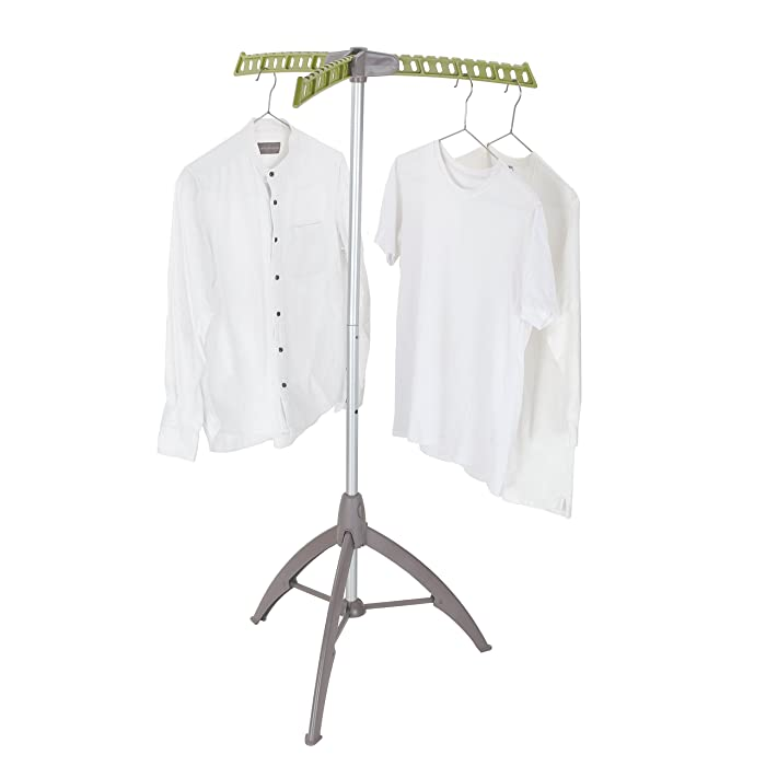 mingol Collapsible Clothes Drying Rack, Portable Garment Racks Indoor, Foldable Standing Laundry Racks for Drying Clothes, Tripod Stand, Hangaway Garment Rack, Green and Grey