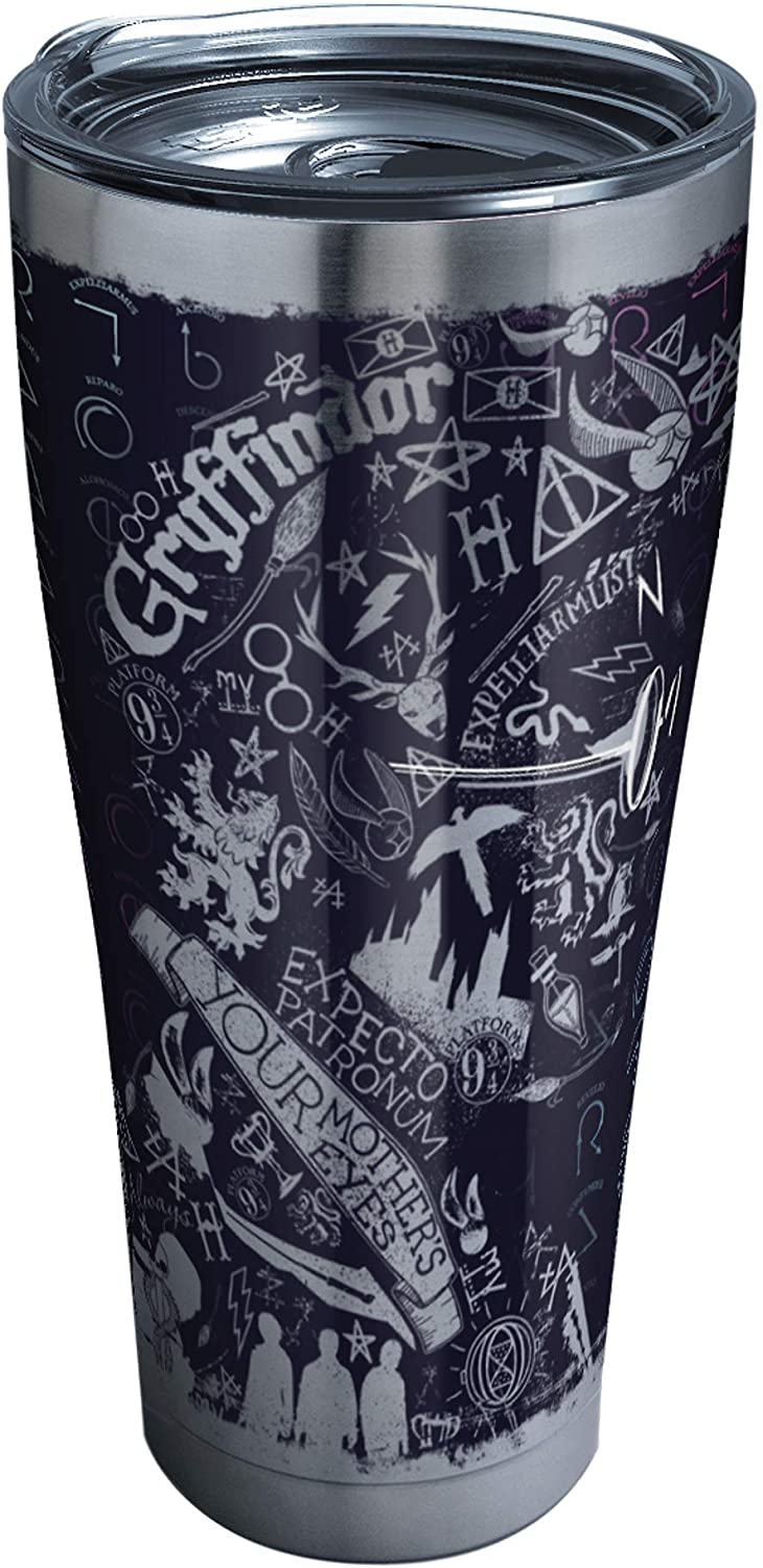 Tervis 1295915 Harry Potter-20Th Anniversary Insulated Tumbler with Hammer Lid, 30 oz Stainless Steel, Silver