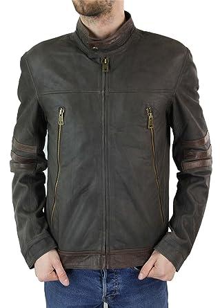 Hommes Veste motard vintage noir marron en cuir véritable X-men Origins  Wolverine logan  Amazon.fr  Vêtements et accessoires 40834dee41ee