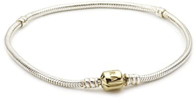 29ad1254e Image Unavailable. Image not available for. Color: Pandora Starter Bracelet  in 925 Sterling Silver w/14K Gold Clasp ...