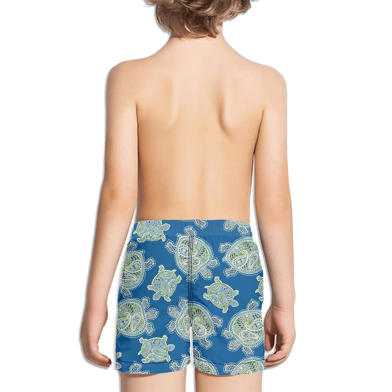 Turtles Peninsula Pattern Boys Girls Swimming Trunks Beach Board Shorts Ruched Quick Dry Vintage Summer Kids Short Pants