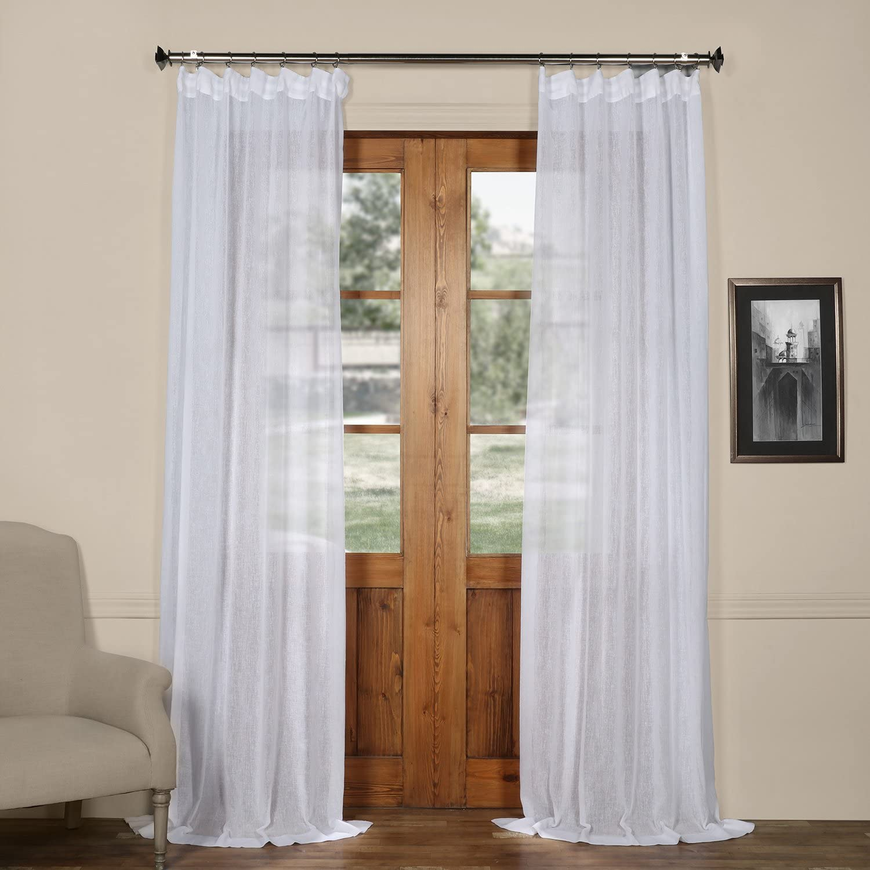 HPD Half Price Drapes SHCH-SS07161-96 Solid Faux Linen Sheer Curtain (1 Panel), 50 X 96, Aspen White