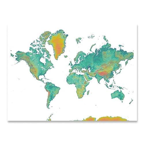 World map art print earth landscape artwork amazon handmade world map art print earth landscape artwork gumiabroncs Gallery