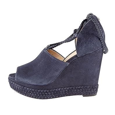 dd25b4d47444 Michael Michael Kors Womens Hastings Lace-up Suede Wedge Peep Toe Sandal  Blue Admiral (
