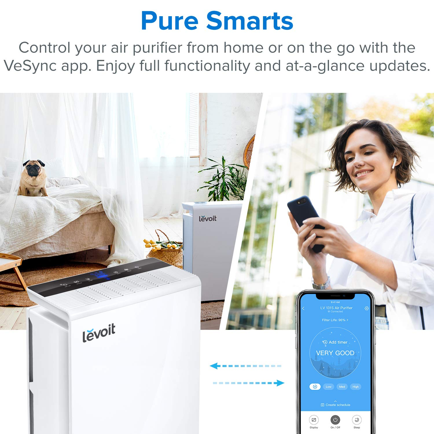 LEVOIT Smart WiFi Air Purifier for Home Large Room with True HEPA Filter, Air Cleaner for Allergies and Pets, Smokers, Mold, Pollen,Odor Eliminators for Bedroom, Energy Star,Work with Alexa, LV-PUR131