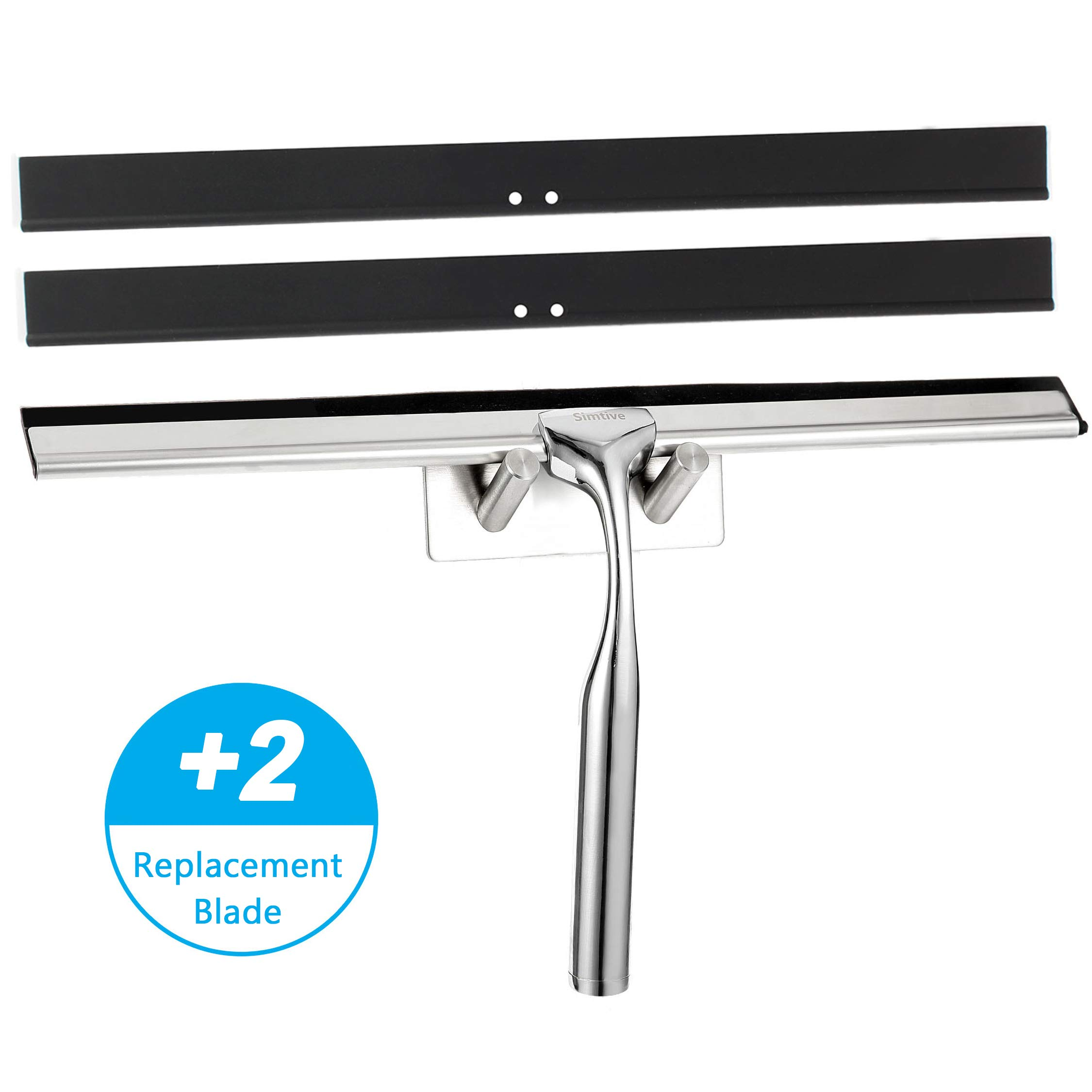 Simtive 12-Inch Shower Squeegee, with 2 Replacement Blades and Adhesive Hook, for Shower Glass Door, Bathroom, Mirror and Window by Simtive