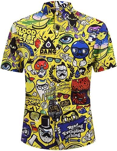 Camisa de Manga Corta Hawaiana de Manga Corta con Estampado de Dibujos Animados de Verano Nueva Camiseta de Playa para Hombre: Amazon.es: Ropa y accesorios
