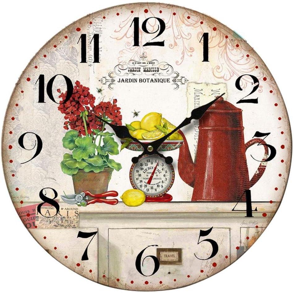 Reloj de pared JARDIN BOT ANTIQUE vintage 34cms, madera MD: Amazon.es: Hogar