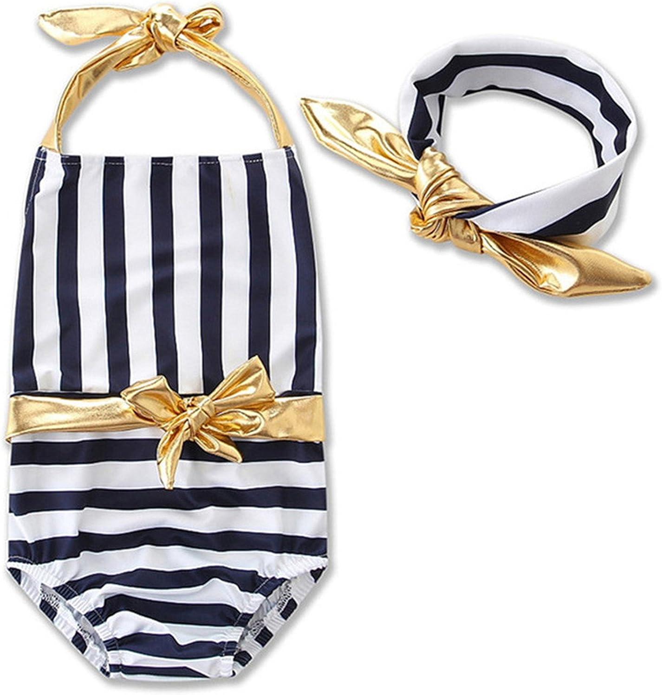 Dataiyang Striped Jumpsuit One Piece Suits Headband Monokini Swimwear Swimsuit Bikini Gifts For Baby Girls