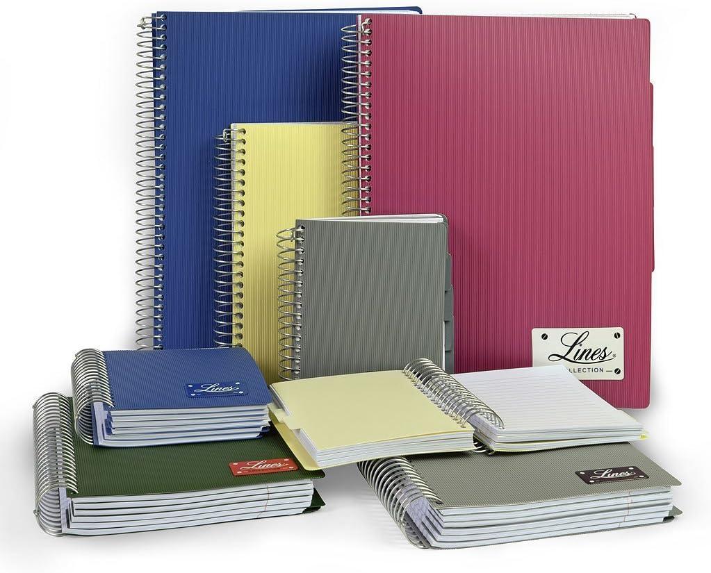 Spiralbindung DIN A4 - kariert, grau liniert oder kariert PP-Umschlag Spiral-Notizbuch mit Hardcover Mintra Corporation Notizbuch Lines 150 Blatt DIN A4 /& DIN A5 /& DIN A6