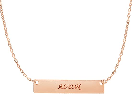 """14K Yellow White or Pink Gold Bar Personalized Necklace 18/"""" Engravable"""